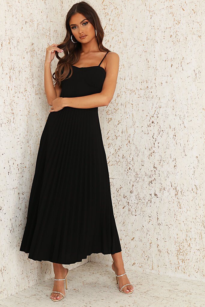 Black Woven Cup Detail Pleated Midi Dress