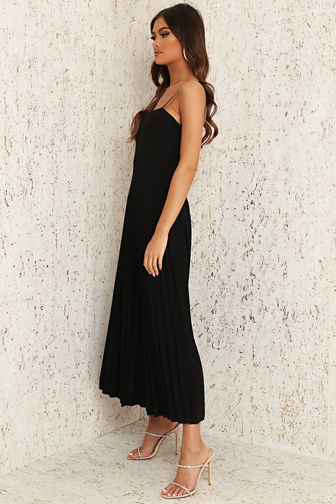Black Woven Cup Detail Pleated Midi Dress view 3