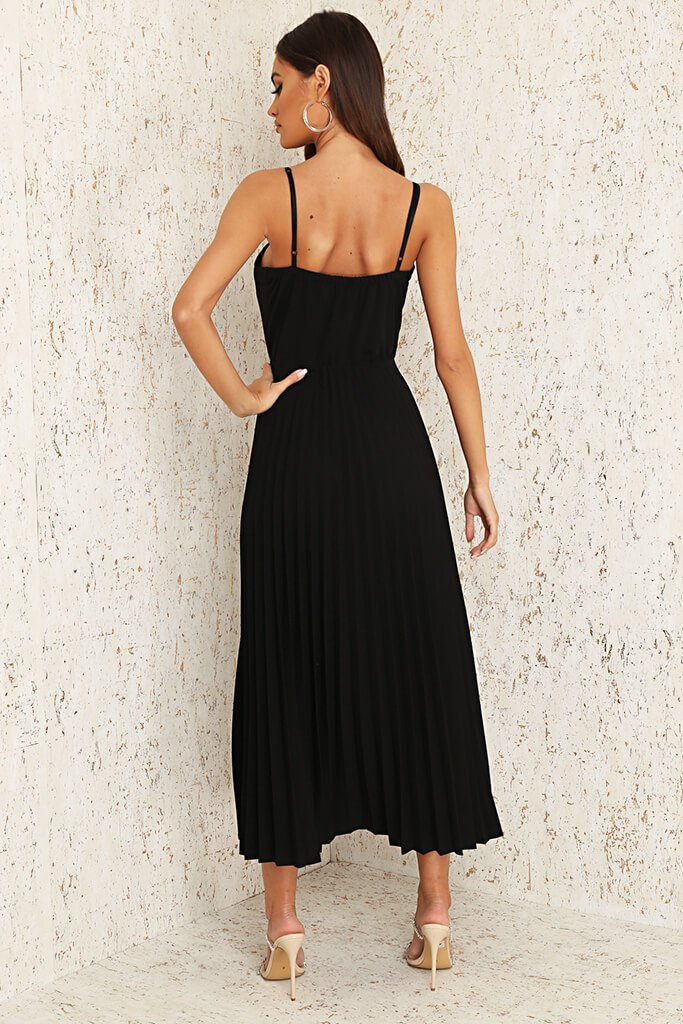 Black Woven Cup Detail Pleated Midi Dress view 5