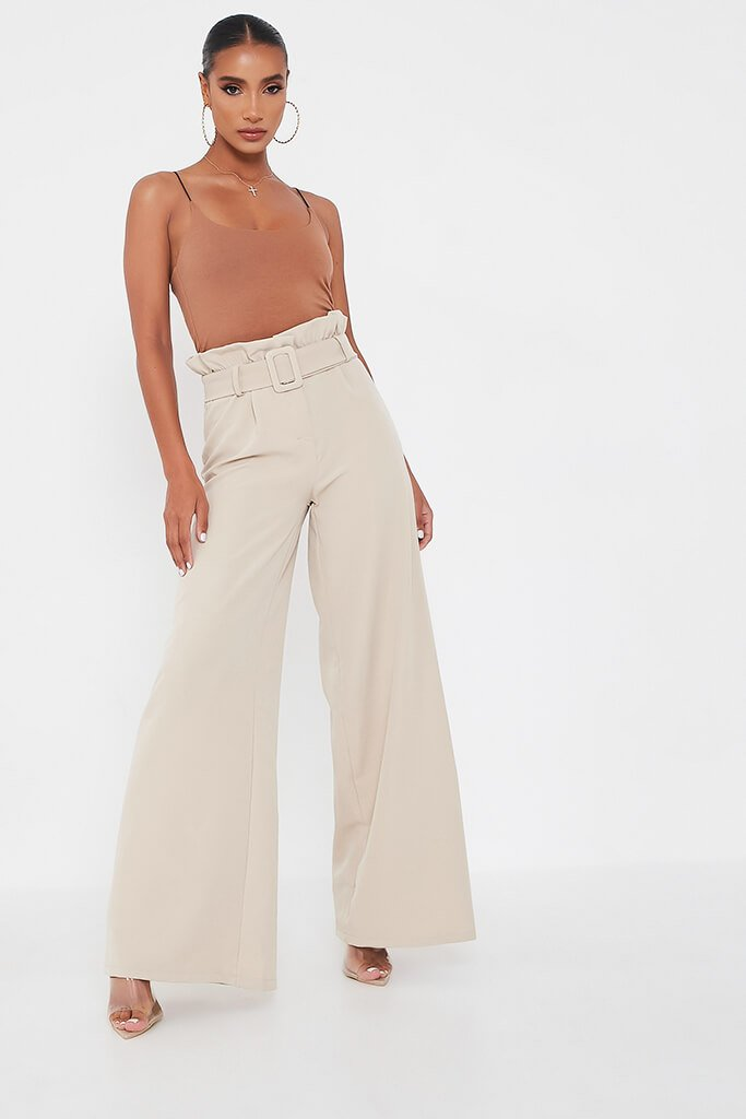 Stone Woven Paperbag Belted Wide Leg Trouser view main view