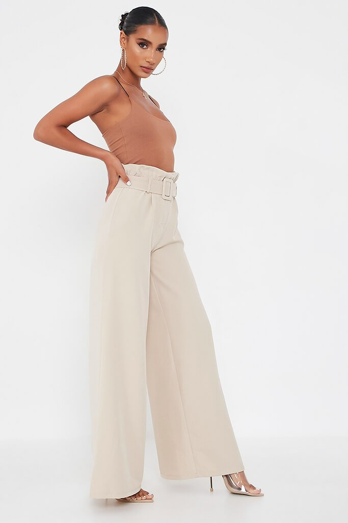 Stone Woven Paperbag Belted Wide Leg Trouser view 3