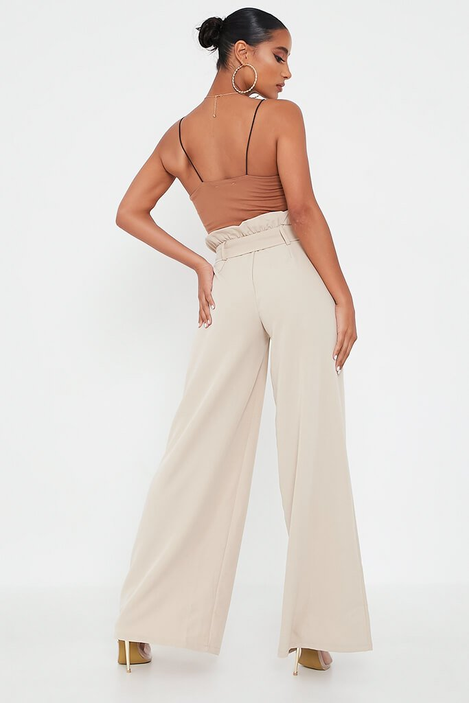 Stone Woven Paperbag Belted Wide Leg Trouser view 5