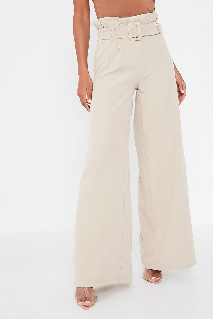 Stone Woven Paperbag Belted Wide Leg Trouser view 2