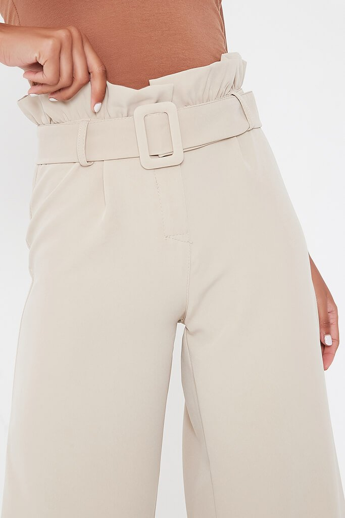 Stone Woven Paperbag Belted Wide Leg Trouser view 4