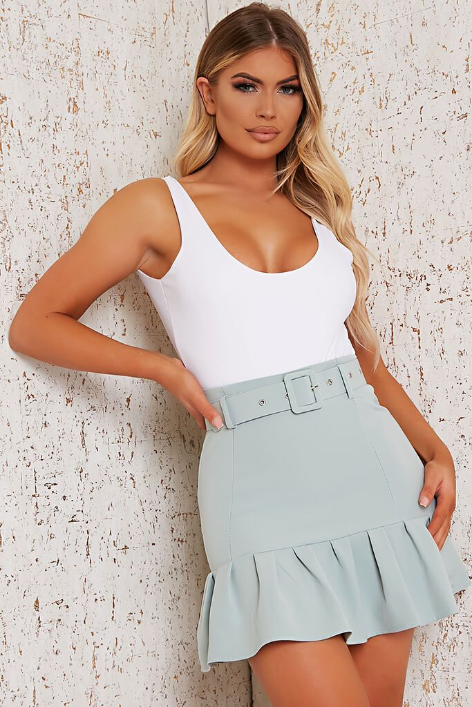 Sage Woven Belted Frill Hem Mini Skirt