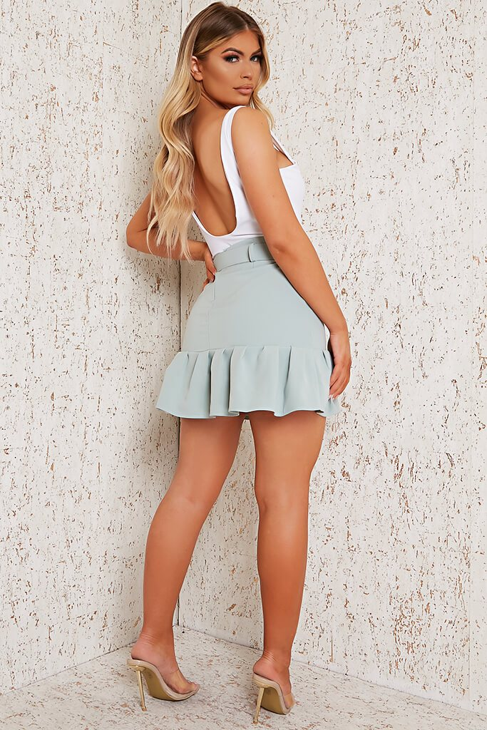Sage Woven Belted Frill Hem Mini Skirt view 3