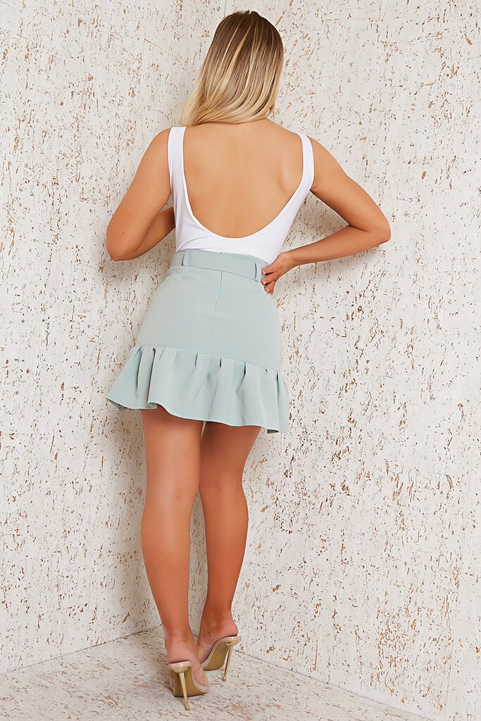 Sage Woven Belted Frill Hem Mini Skirt view 5