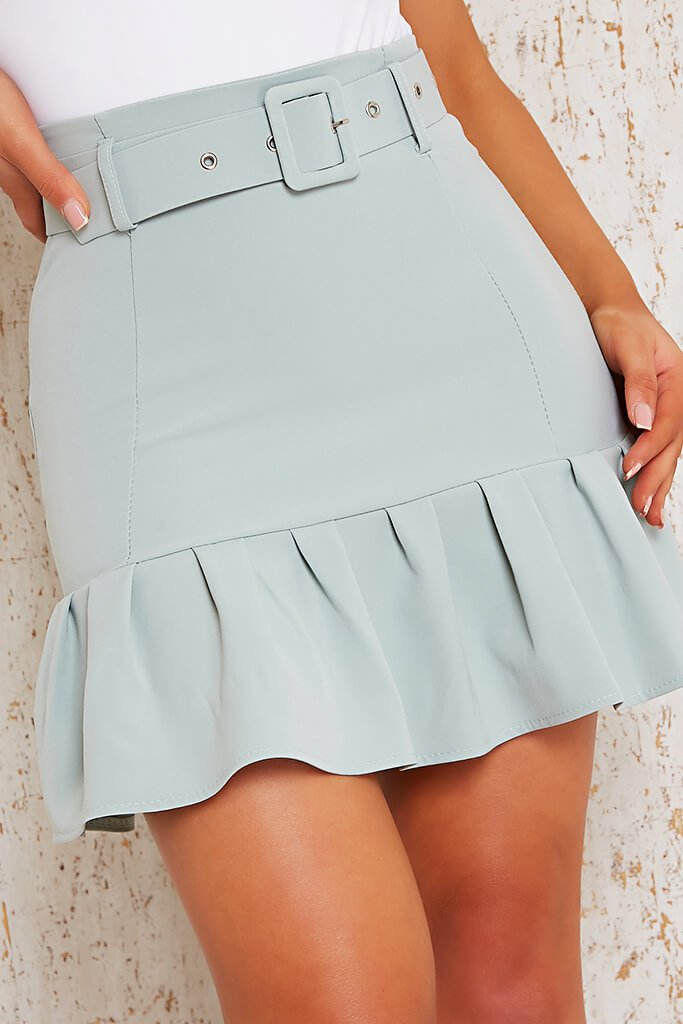 Sage Woven Belted Frill Hem Mini Skirt view 4