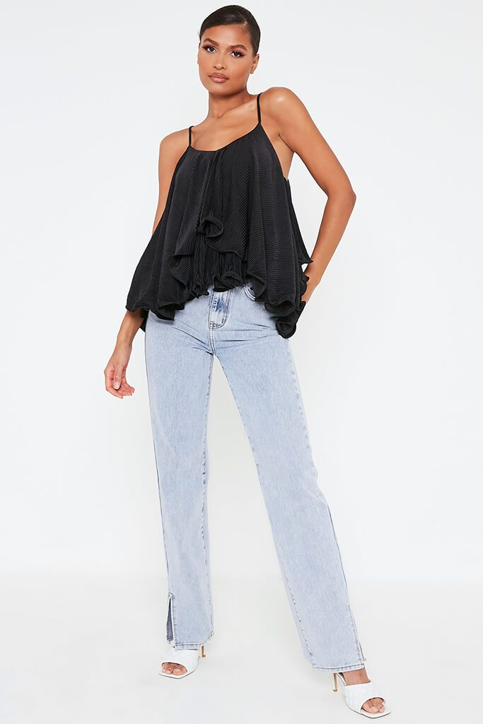 Black Woven Floaty Cami Strappy Blouse view 2