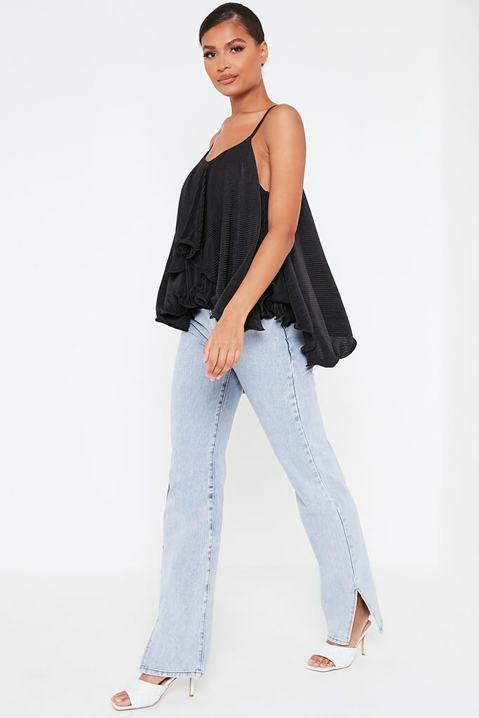 Black Woven Floaty Cami Strappy Blouse view 3