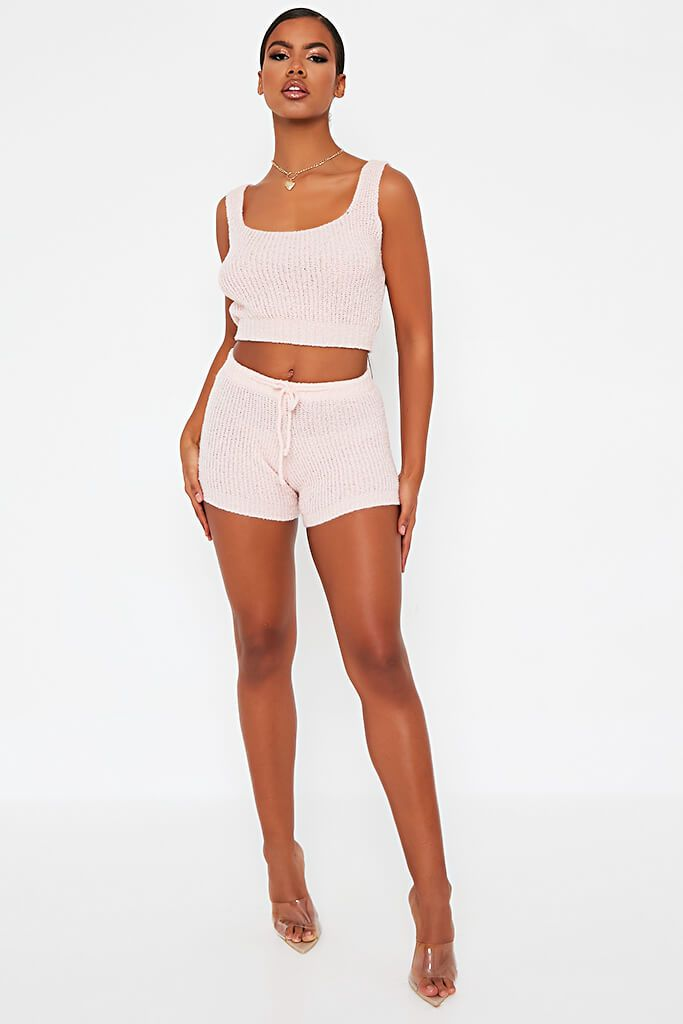 Baby Pink Cosy Knitted Short view 2