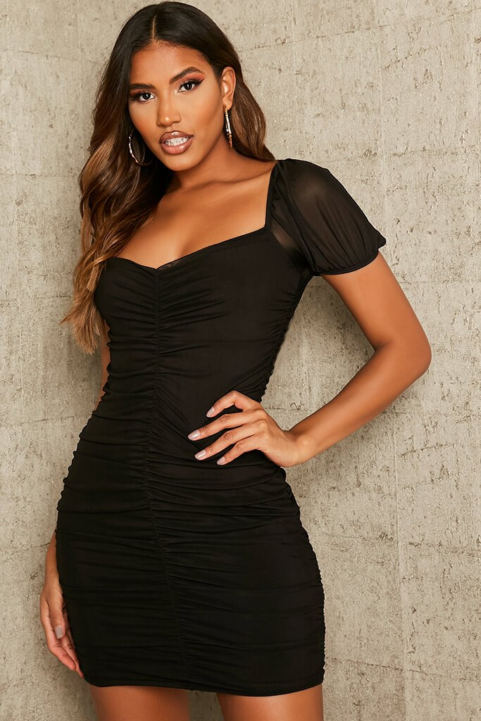 Black Mesh Ruched Puff Sleeve Bodycon Dress