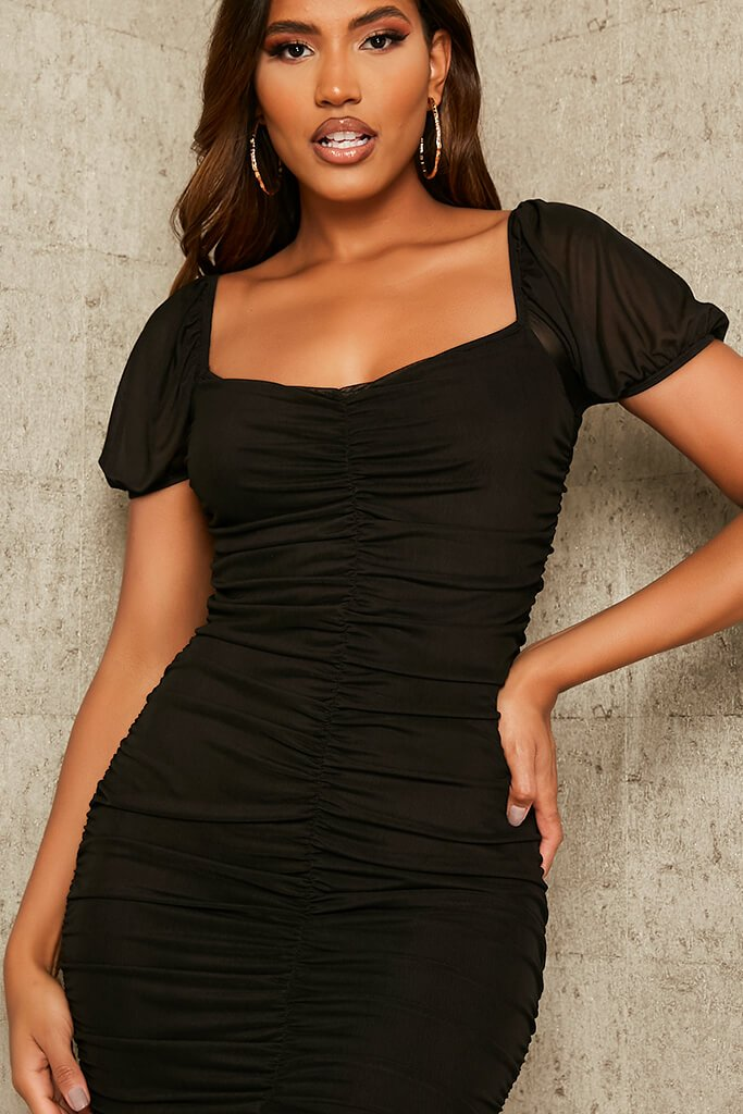 Black Mesh Ruched Puff Sleeve Bodycon Dress view 4