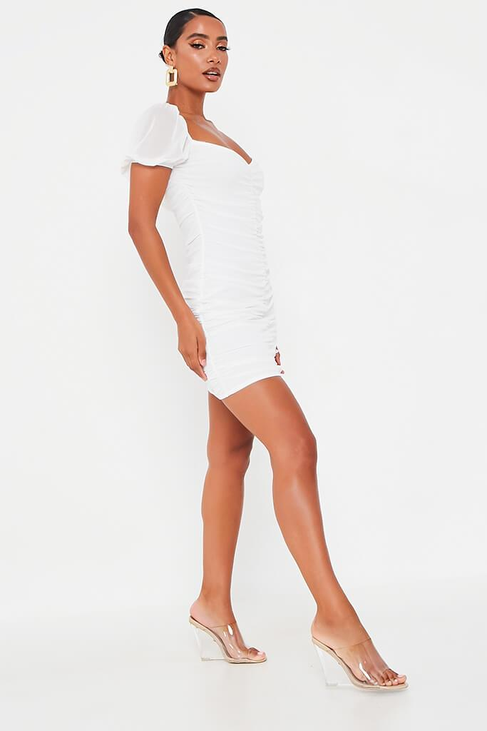 White Mesh Ruched Puff Sleeve Bodycon Dress view 3