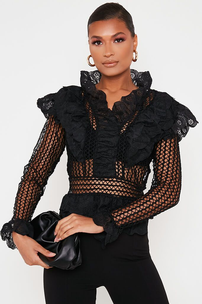 Black Crochet Lace Blouse
