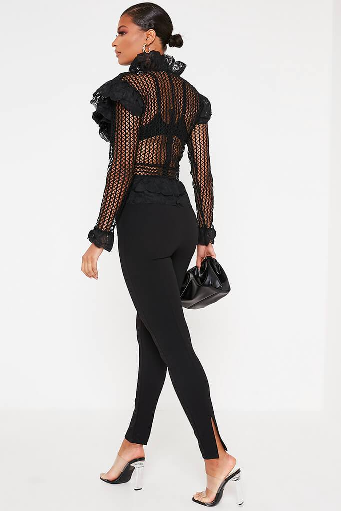 Black Crochet Lace Blouse view 5