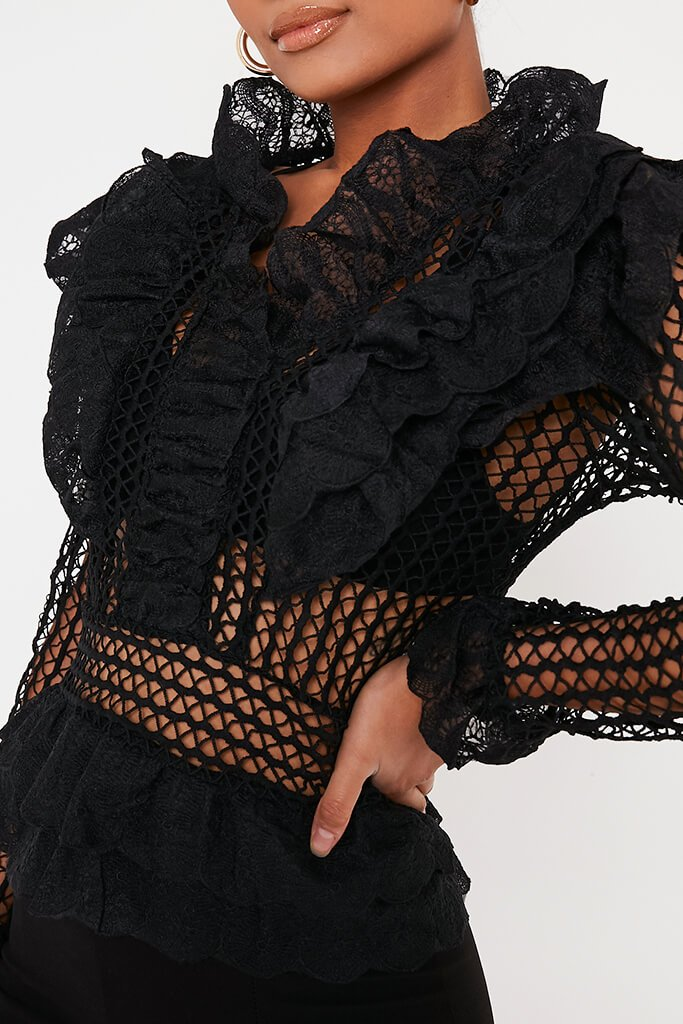 Black Crochet Lace Blouse view 4
