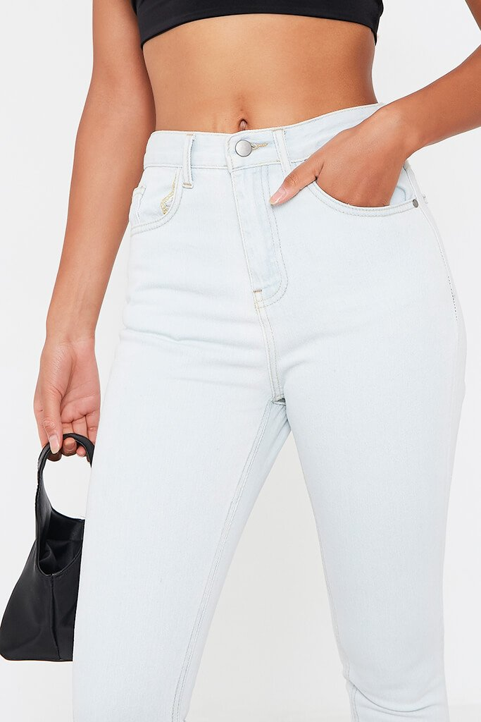Bleach Wash Split Hem Mom Jeans view 4