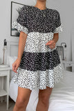 Monochrome Woven Dalmation Print Tiered Smock Dress