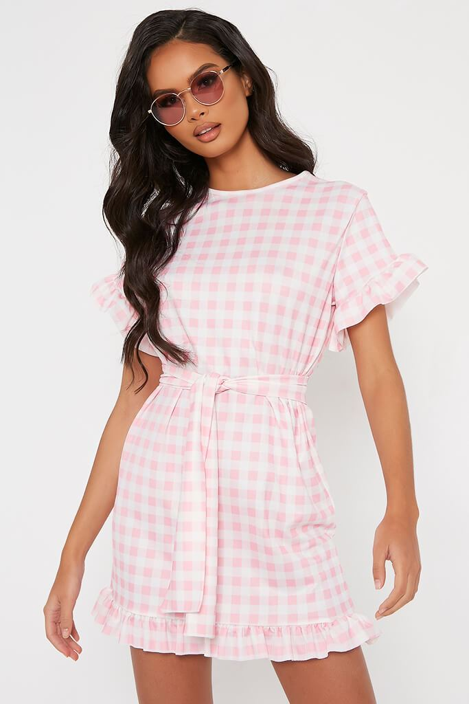 Pink Gingham Frill Belted Tea Dress view main view