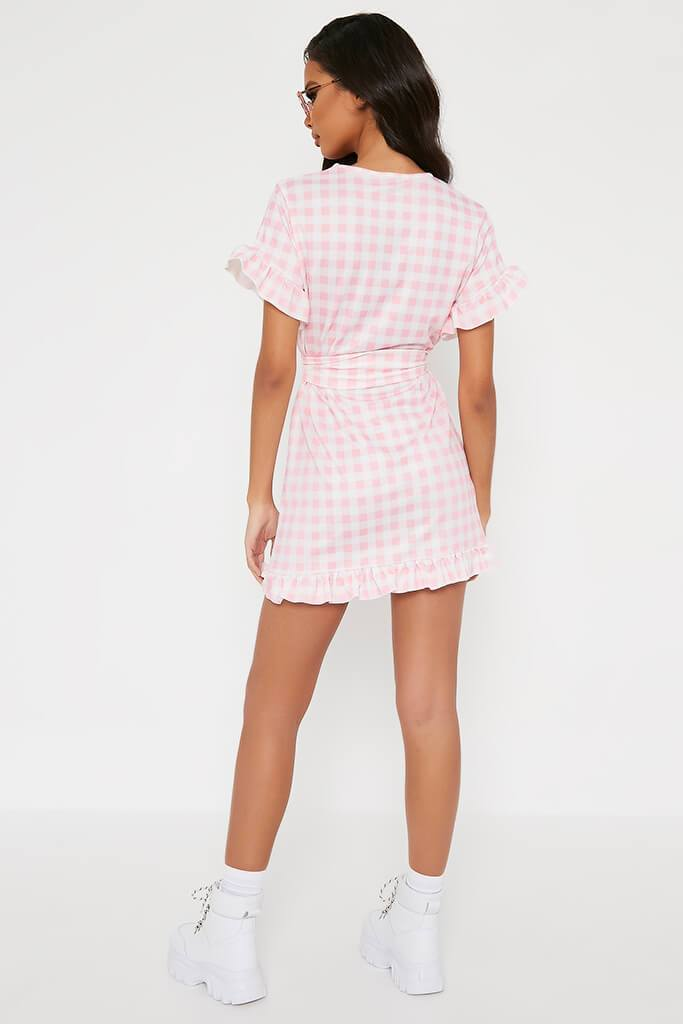 Pink Gingham Frill Belted Tea Dress view 5