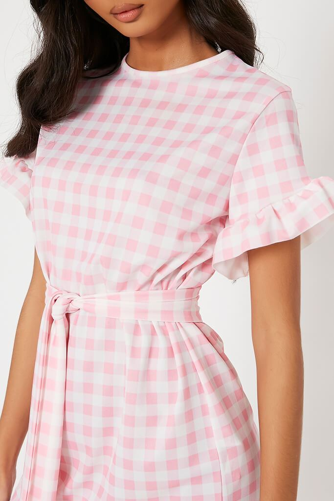 Pink Gingham Frill Belted Tea Dress view 4