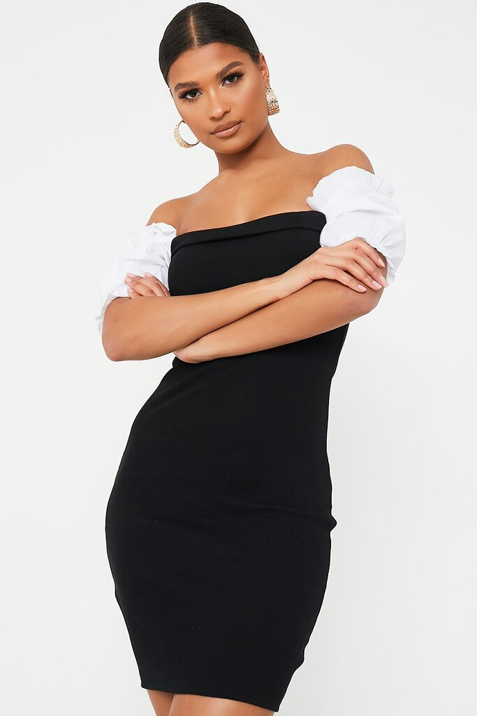 Black Bardot Bodycon Dress With Puff Sleeves view 2