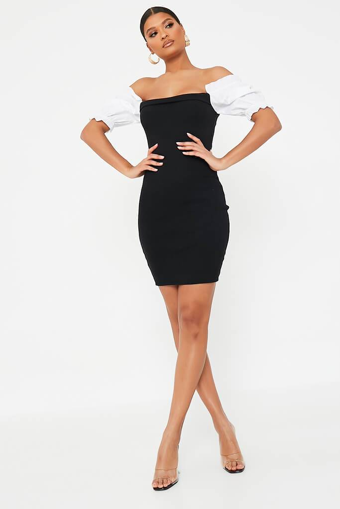 Black Bardot Bodycon Dress With Puff Sleeves