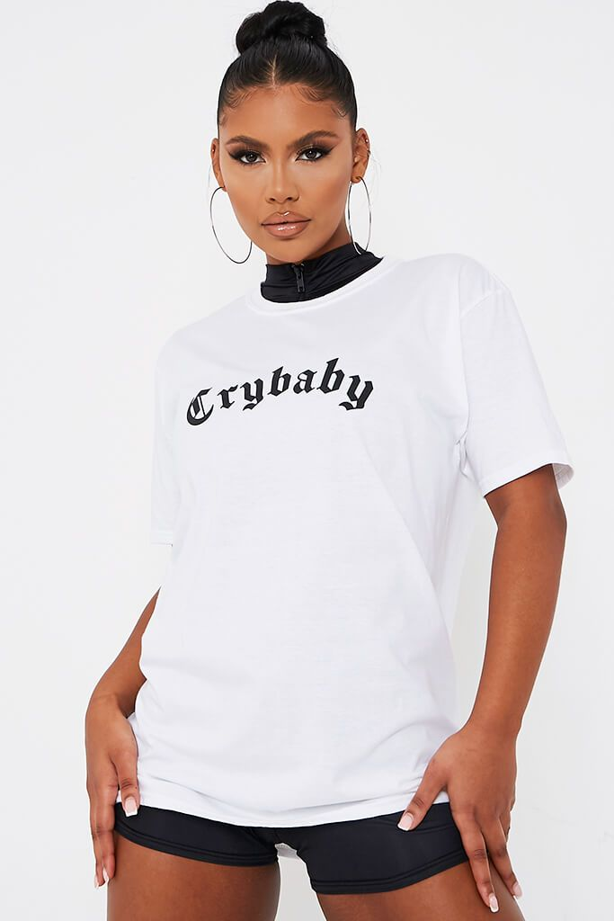 White Crybaby Overisized T-Shirt view 2