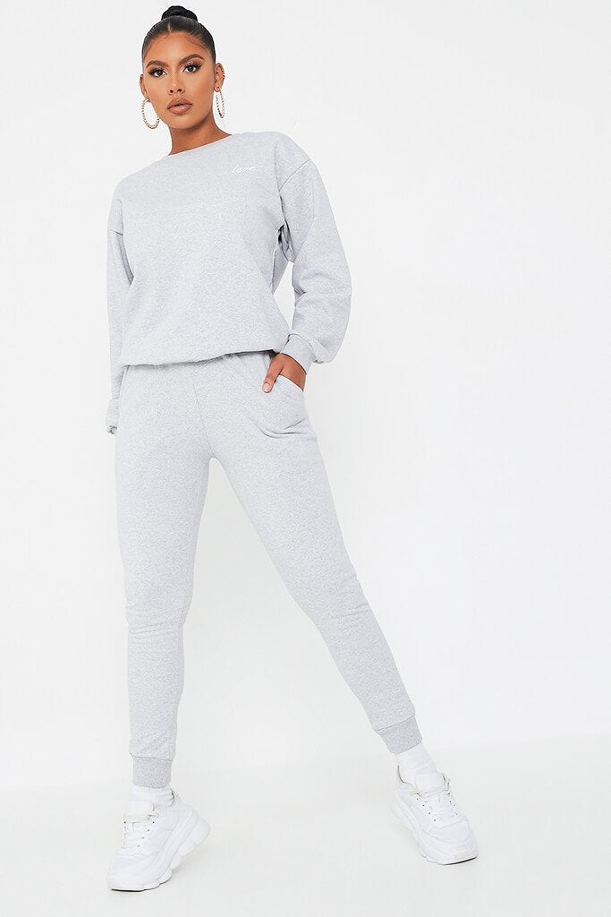 Silver Grey 'Love' Embroidered Sweater And Jogger Set