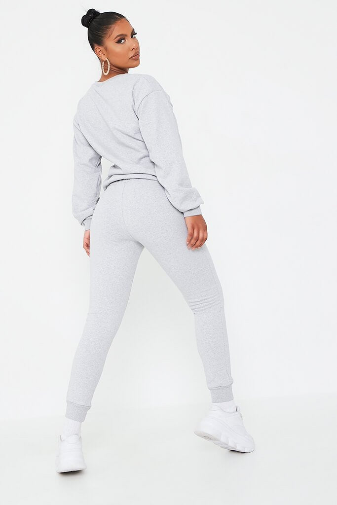 Silver Grey 'Love' Embroidered Sweater And Jogger Set view 5
