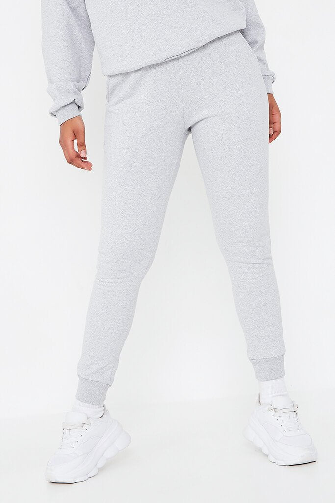 Silver Grey 'Love' Embroidered Sweater And Jogger Set view 4