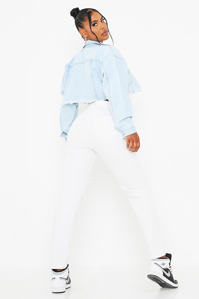 Light Wash Distressed Batwing Crop Denim Jacket view 4