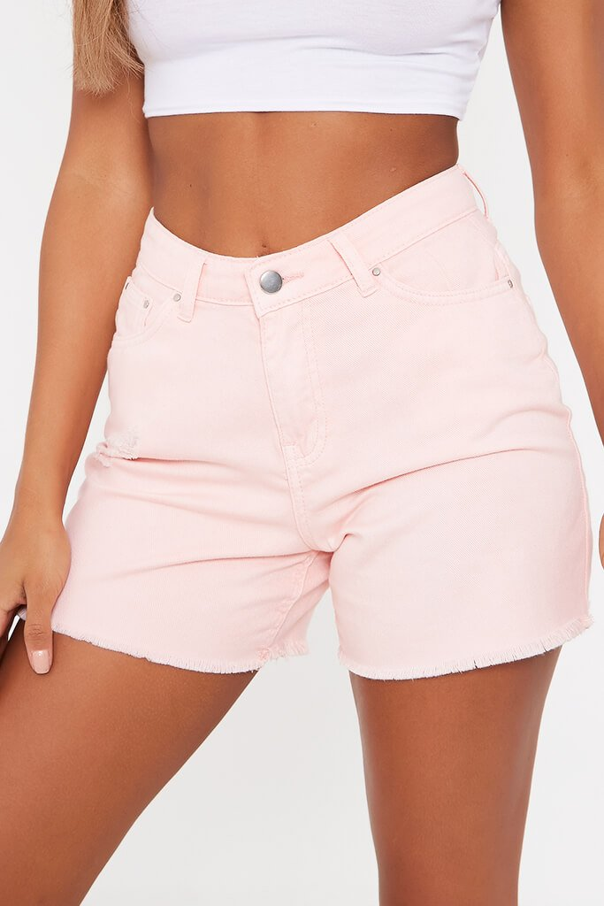 Pink Frayed Hem Denim Shorts view 4