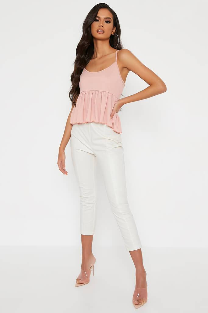 Blush Pink Lettuce Hem Strappy Blouse view 2
