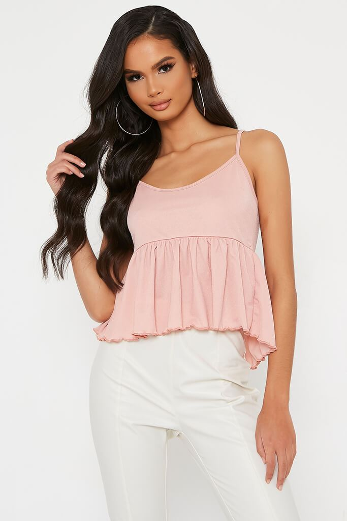 Blush Pink Lettuce Hem Strappy Blouse view main view