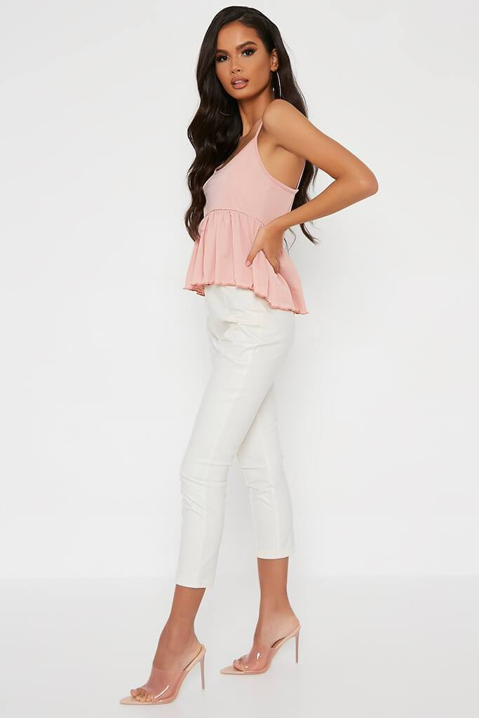 Blush Pink Lettuce Hem Strappy Blouse view 3