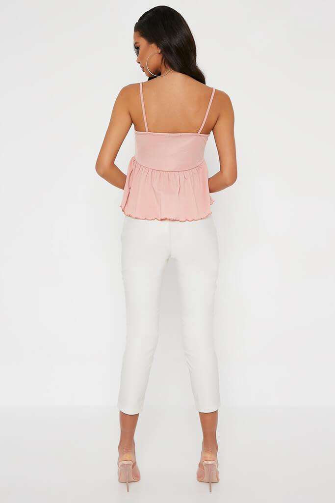 Blush Pink Lettuce Hem Strappy Blouse view 5