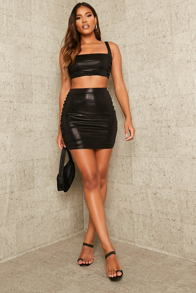 Black Metallic Ruched Side Crop Top view 2