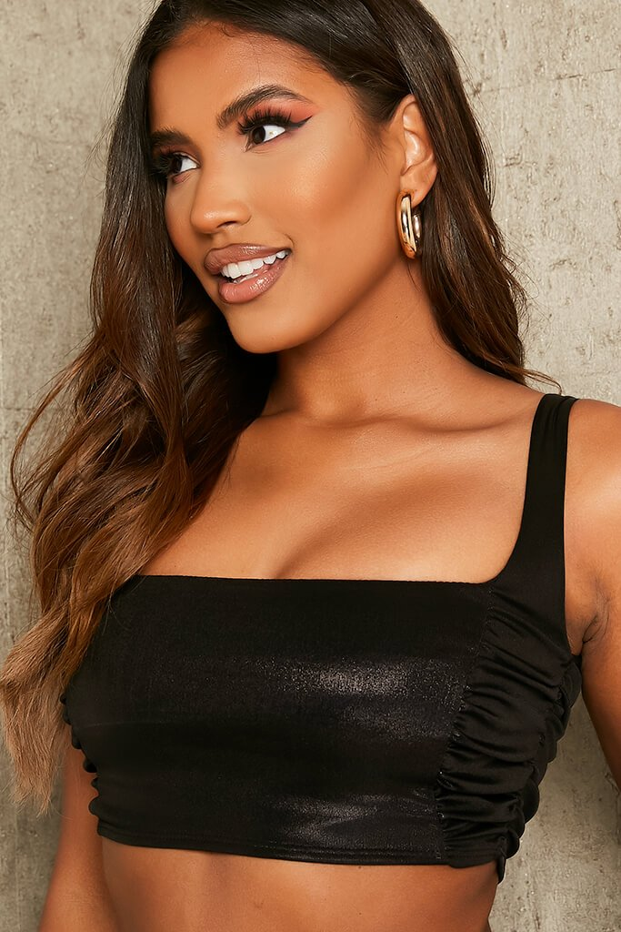 Black Metallic Ruched Side Crop Top view 4
