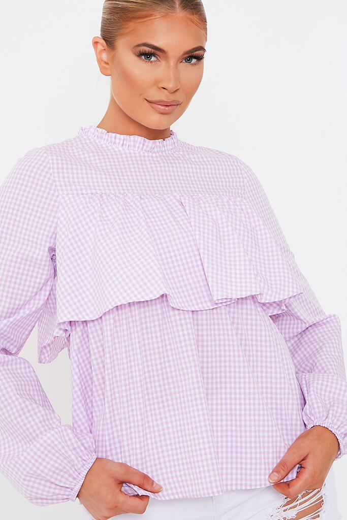 Lilac Gingham Print Long Sleeve Tiered Blouse view 4