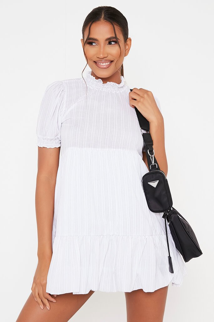 White Woven Pin Stripe Frill Hem Short Sleeve Smock Dress