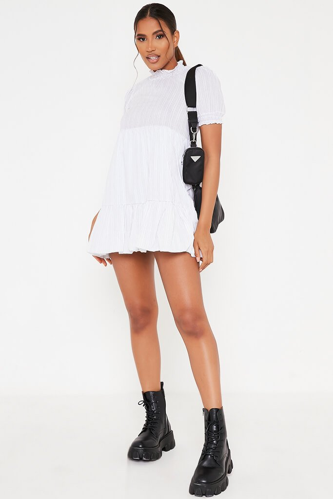 White Woven Pin Stripe Frill Hem Short Sleeve Smock Dress view 2