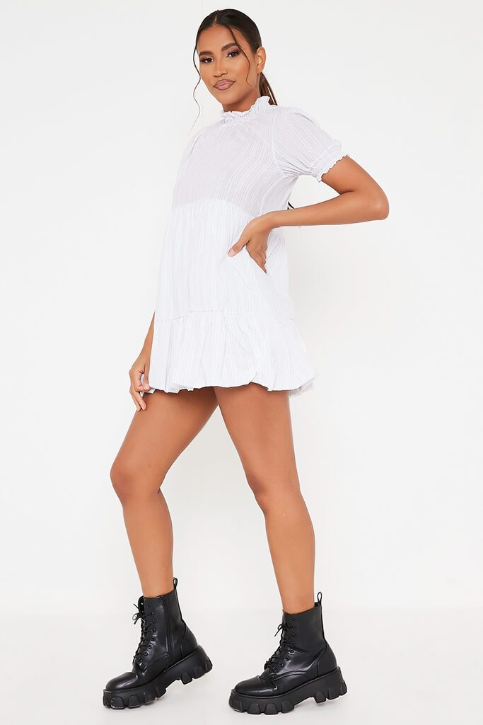 White Woven Pin Stripe Frill Hem Short Sleeve Smock Dress view 3