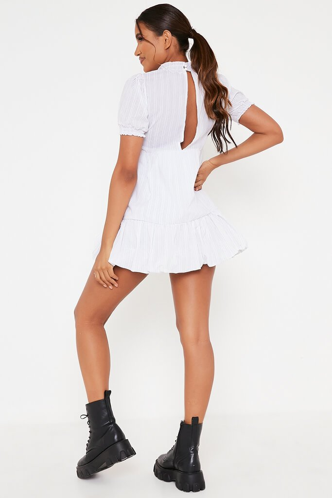 White Woven Pin Stripe Frill Hem Short Sleeve Smock Dress view 5