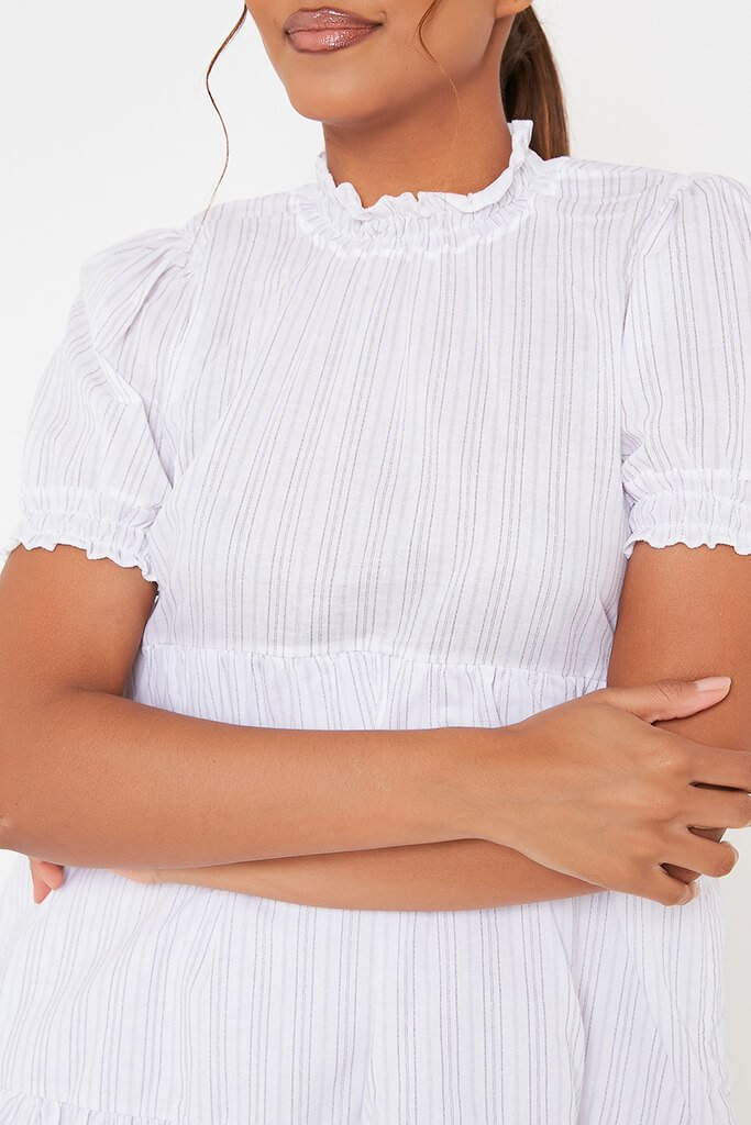 White Woven Pin Stripe Frill Hem Short Sleeve Smock Dress view 4