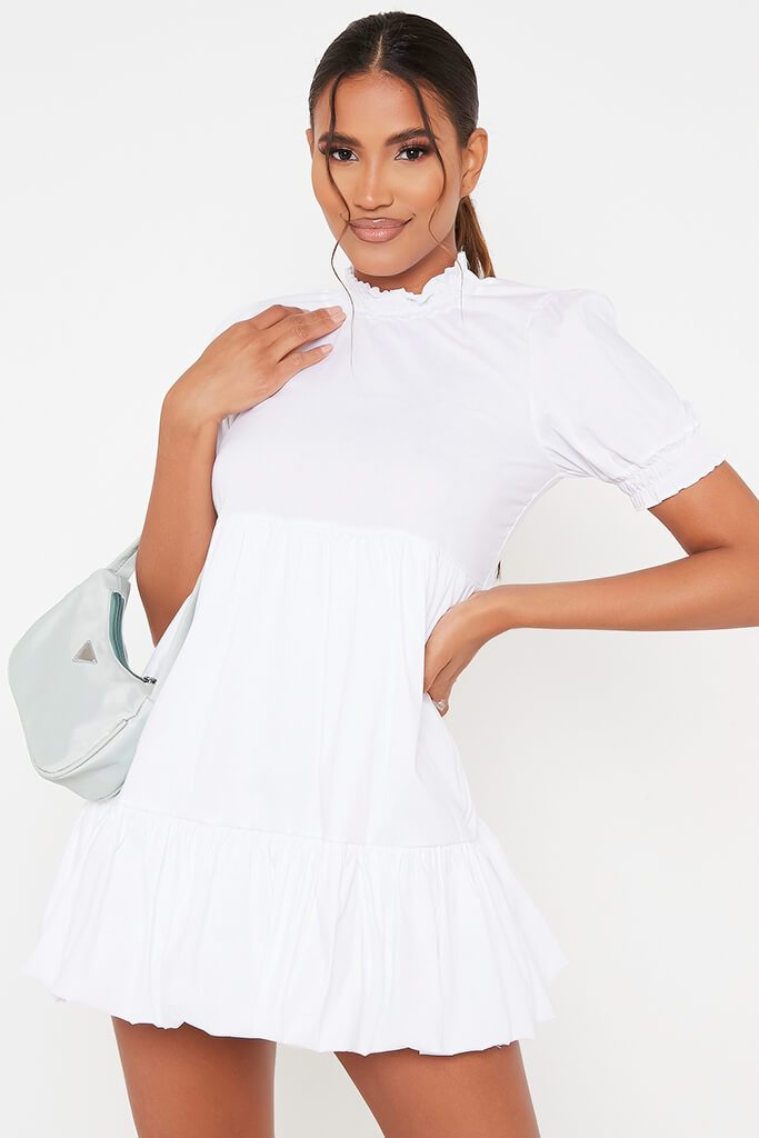 White Woven Frill Hem Short Sleeve Smock Dress view main view