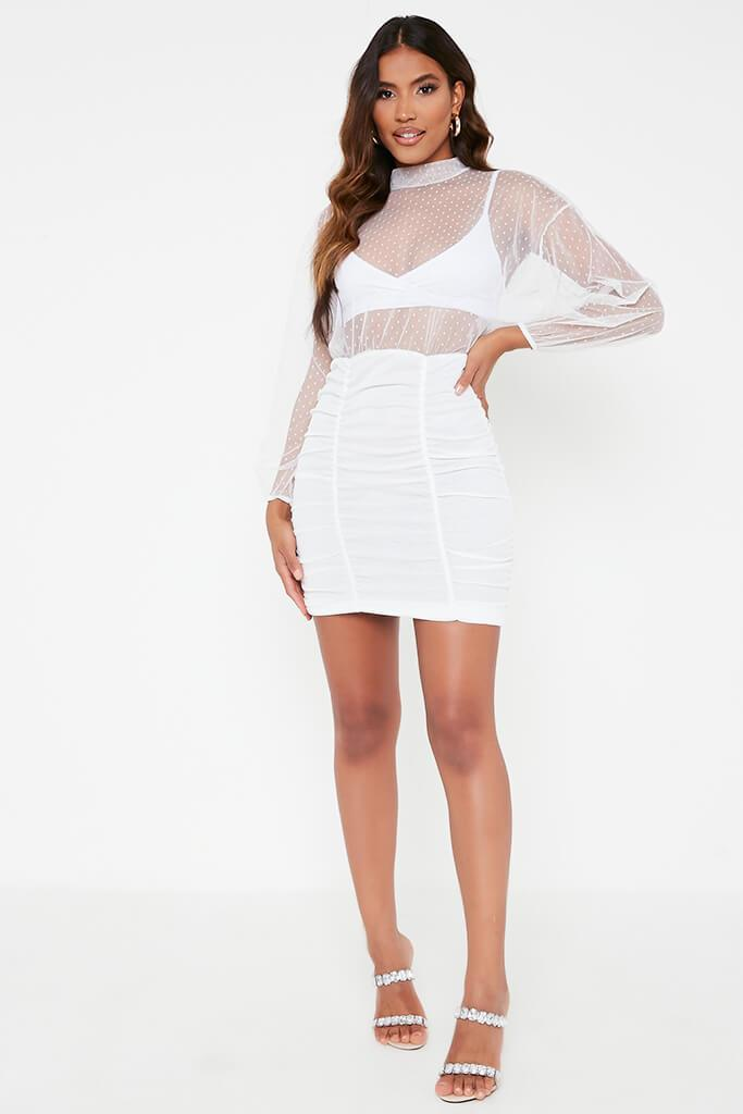 White Dobby Mesh Balloon Sleeve Ruched Dress view 2