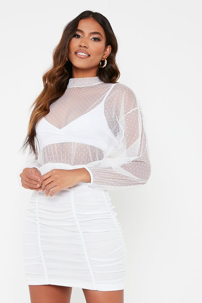 White Dobby Mesh Balloon Sleeve Ruched Dress