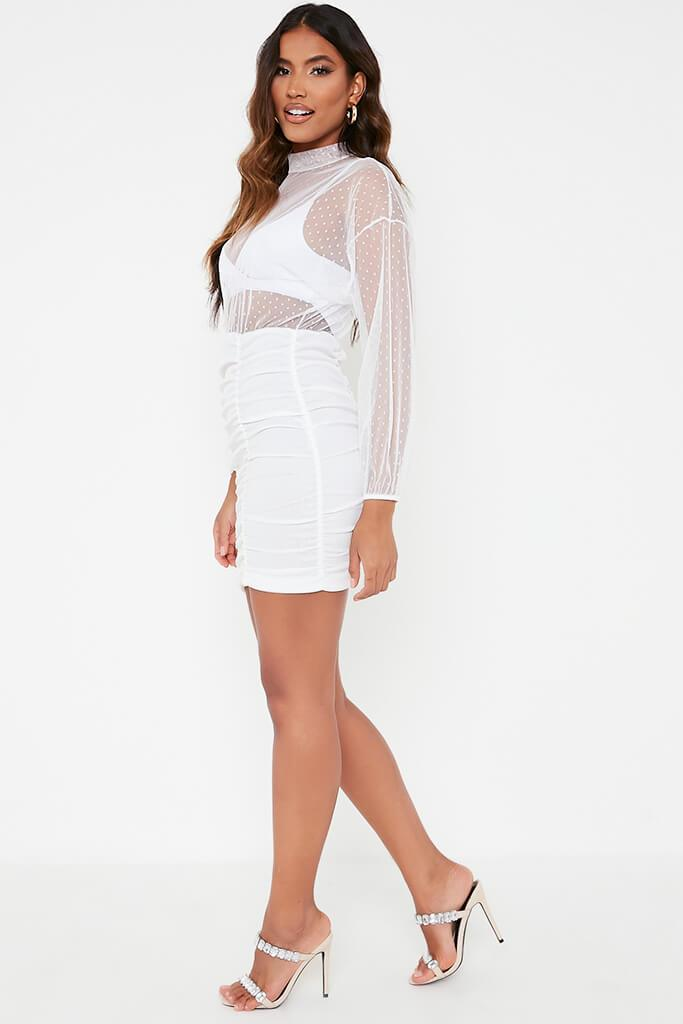 White Dobby Mesh Balloon Sleeve Ruched Dress view 3